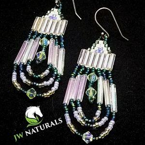 Handmade Green White Chandelier Beaded Earrings